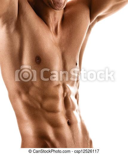 krop, sexet, muskuløse, mand - csp12526117