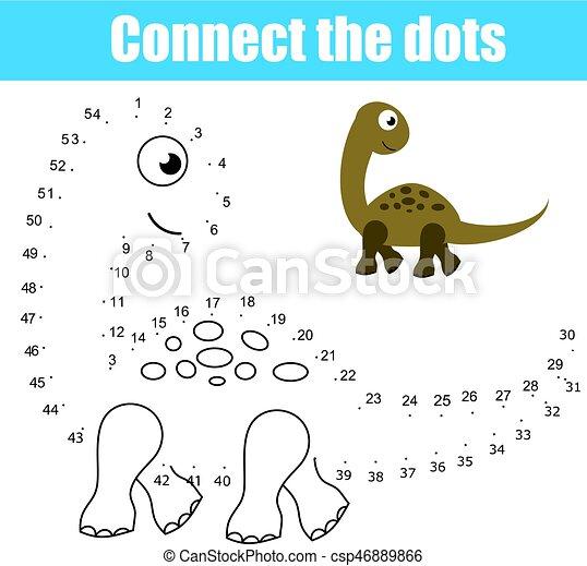 kropkuje, oświatowy, zwierzęta, printable, game., temat, dinozaur, połączyć, worksheet, activity., dzieci, takty muzyczne - csp46889866