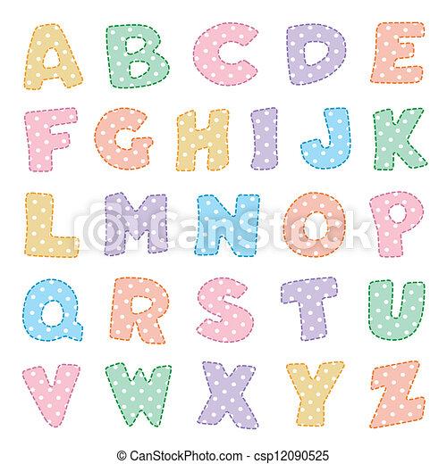 kropkuje, polka, alfabet, pastele - csp12090525