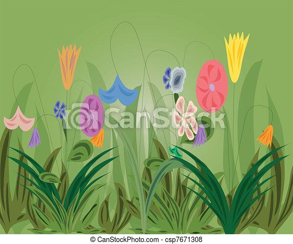 kruid, bloemen, achtergrond - csp7671308