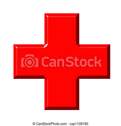 kruis, rood, 3d - csp1109180