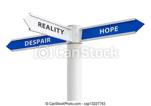 kruispunten, wanhoop, hoop, meldingsbord - csp13227743