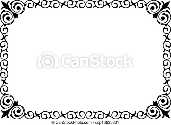 krullend, frame, black , kalligrafie, barok, kalligrafie - csp13635331