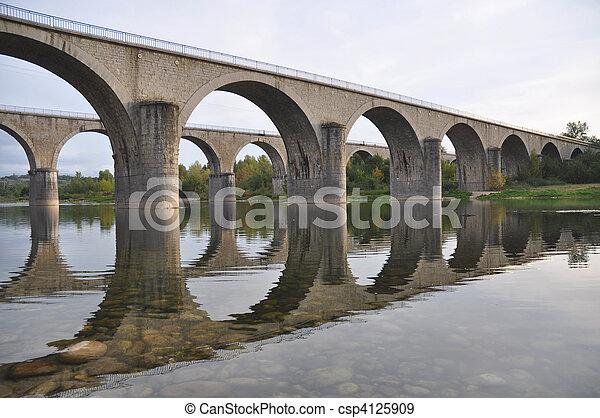 krydsning, broer, sten, flod, ardeche - csp4125909