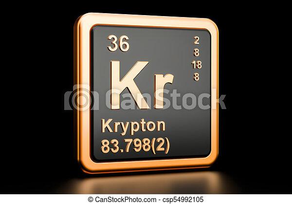 Krypton Kr Chemical Element 3d Rendering Krypton Kr Chemical