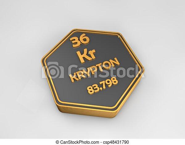 Krypton Kr Chemical Element Periodic Table Hexagonal Shape 3d