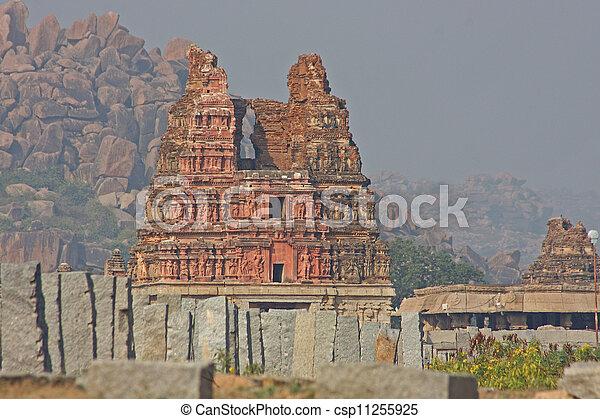 kryszna, karnataka, hampi, indie, szczegół, stan, świątynia - csp11255925