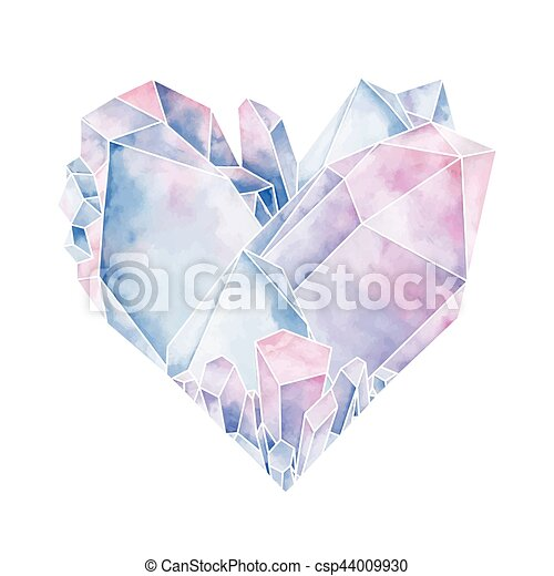kryształ, graficzny, serce - csp44009930