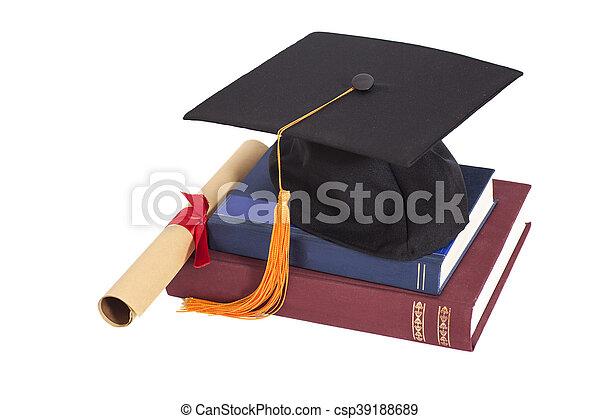 książki, kapelusz, dyplom, skala, odizolowany - csp39188689