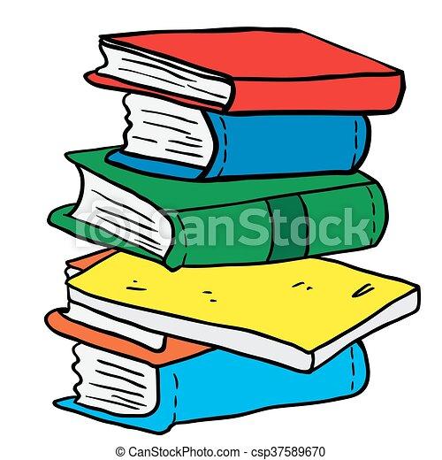 Książki, stos, rysunek, ilustracja.