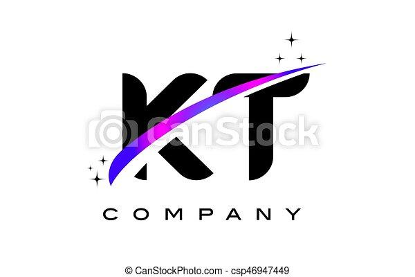 KT K T Black Letter Logo Design with Purple Magenta Swoosh - csp46947449
