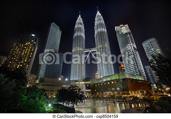 Kuala Lumpur Cityscape at Night - csp8504159