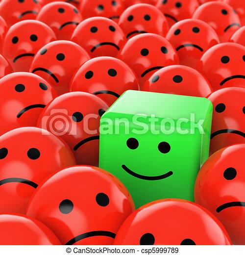 kubus, groene, smiley, vrolijke  - csp5999789