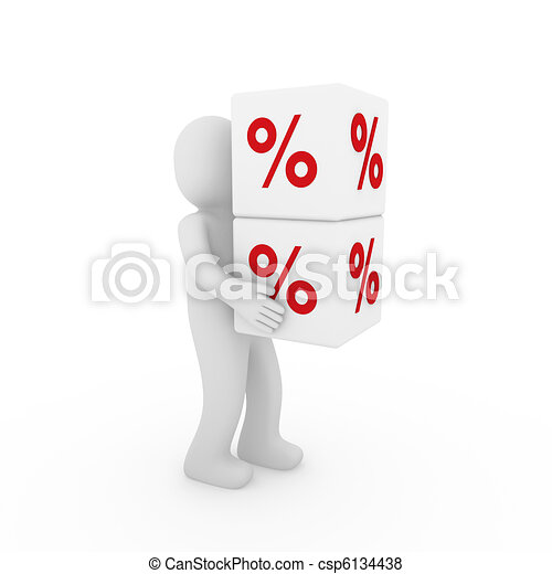 kubus, verkoop, menselijk, wit rood, 3d - csp6134438