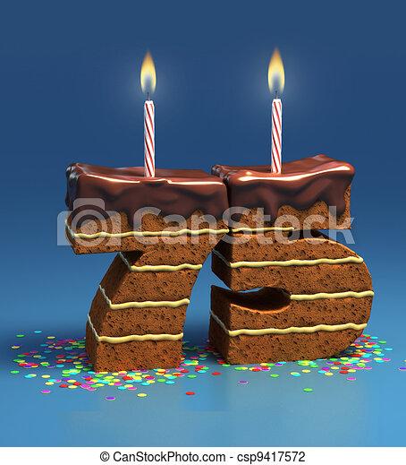 Kuchen, 75, geburstag, zahl, geformt. Umgeben, jubiläum,... Clipart ...