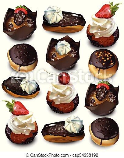 kuchen cupcakes muffin muster realistic eclaires vektor kstlich - Kuchen Muster