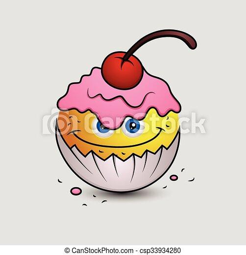 Kuchen Emoticon Smiley Becher Emoji