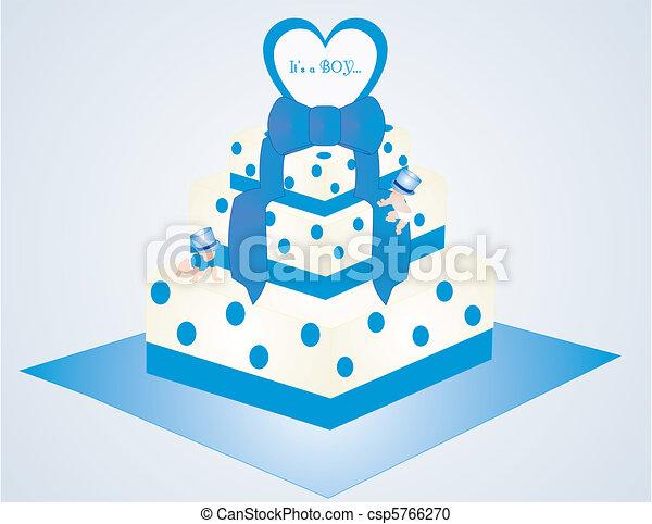 Kuchen, es ist, junge. Blaues, punkte, wenig, usages....,... Vektor ...