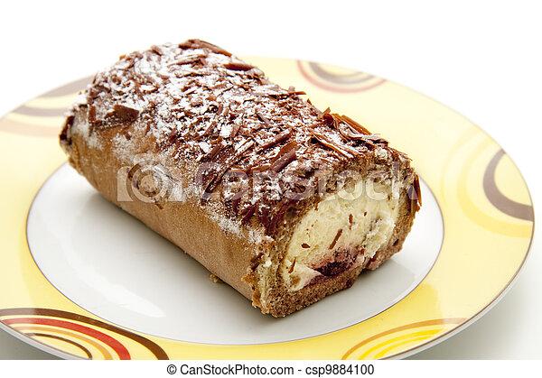 Kuchen Fullung Rolle Creme Fullung Rolle Hintergrund Kuchen