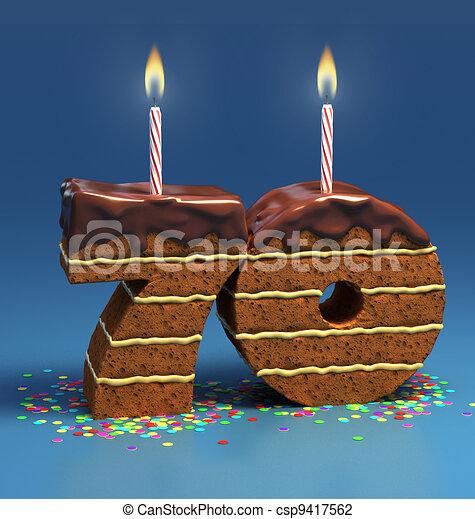 Kuchen, geburstag, zahl, 70, geformt. Umgeben, seventieth ...