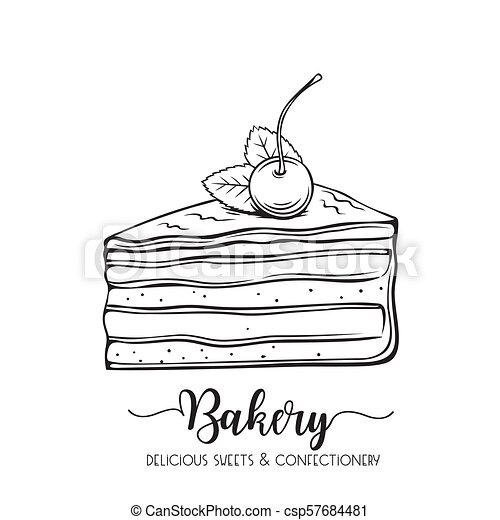 Kuchen Gezeichnet Hand Skizze Konfekt Cherry Oiece Nachtisch