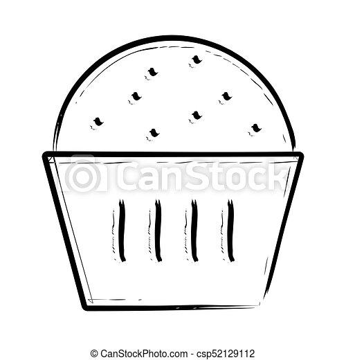 Kuchen Gezeichnet Ikone Becher Hand