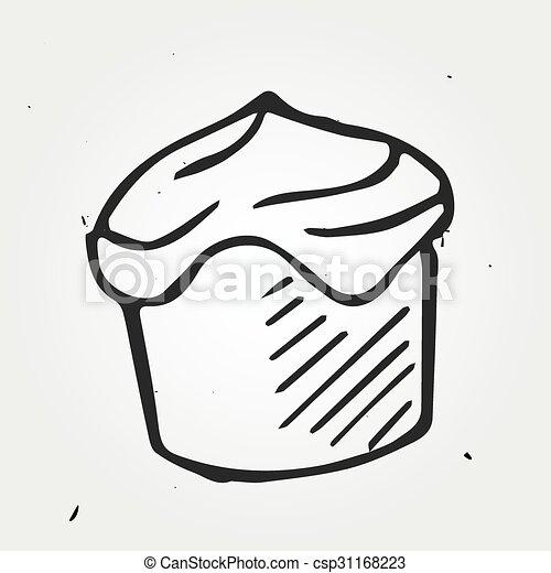 Kuchen Gezeichnet Schmackhaft Hand Gekritzel Gegenstand Hand
