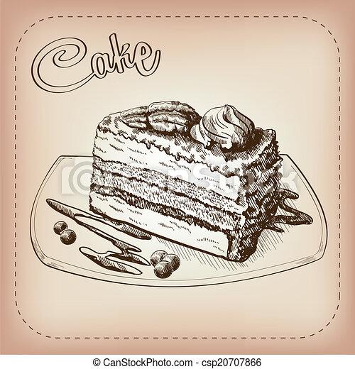 Kuchen Gezeichnet Vektor Hand Vektor Skizze Gemacht Kuchen Hand