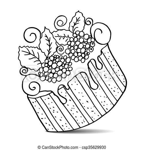 Kuchen Gezeichnet Vektor Hand Freigestellt Hand Berries