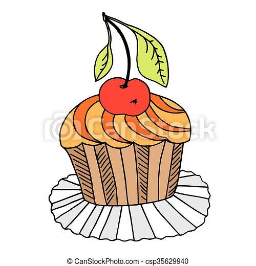 Kuchen Gezeichnet Vektor Hand Cherry Freigestellt Hand