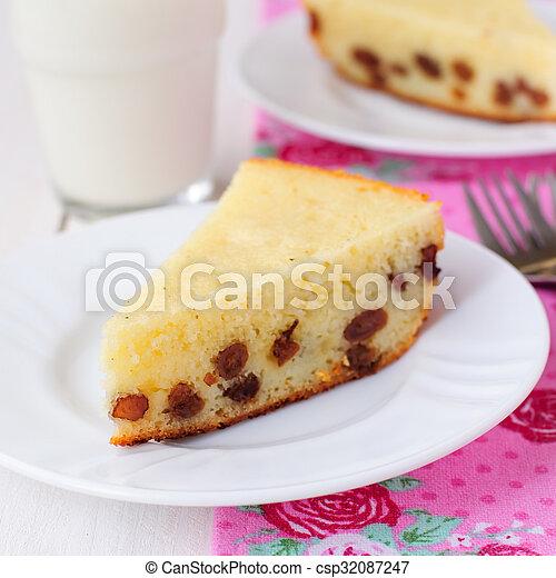 Kuchen Griess Milch Quadrat Zwei Stucke Glas Griess Kuchen