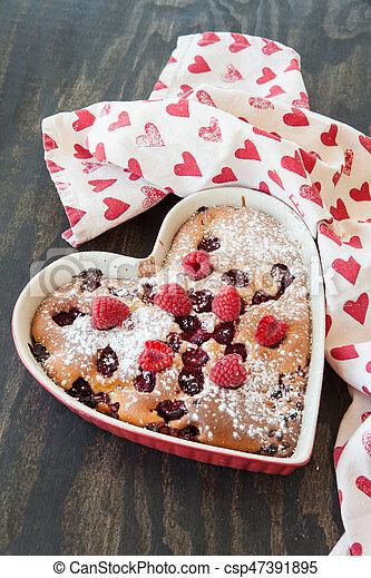 Kuchen Himbeeren Herz Himbeeren Zucker Kuchen Gepulvert Frisch