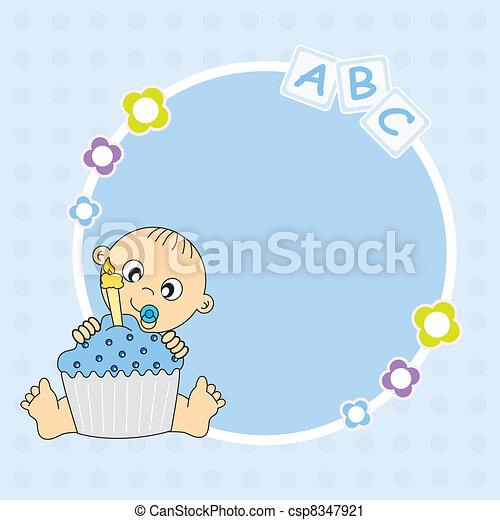Kuchen, junge, geburstag, baby. Junge, text, rahmen,... Vektor ...