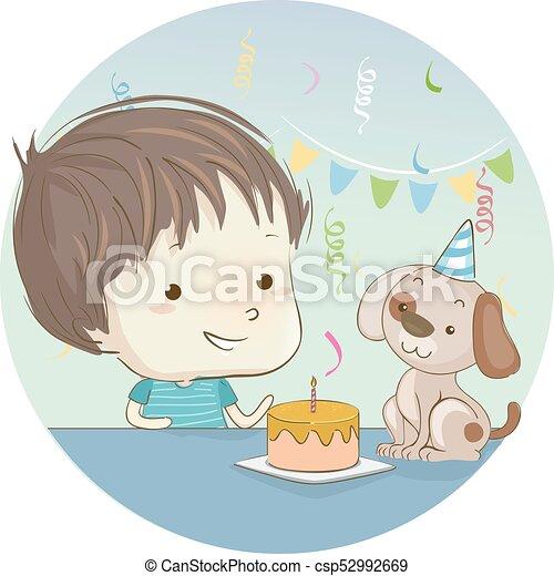 Kuchen Junge Geburstag Hund Kind Reizend Wenig Seine