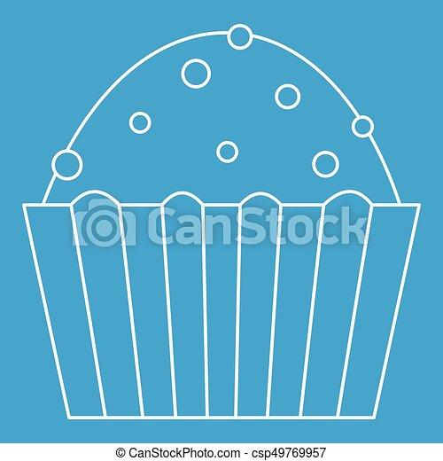 Kuchen, muffin, ikone, stil, grobdarstellung. Blaues, stil ...