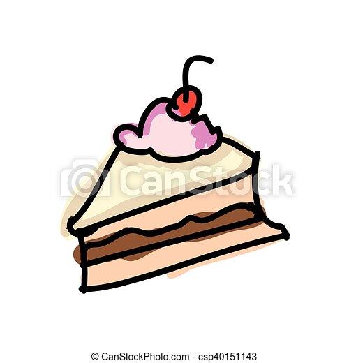 Kuchen Nachtisch Stuck Cherry Lieb Abbildung Vektor