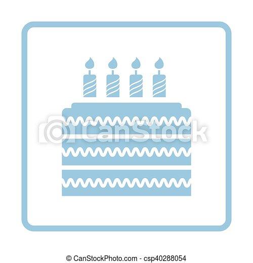Kuchen, party, ikone. Blaues, illustration., rahmen, vektor ...