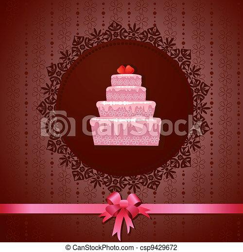 kuchen, weinlese, celebratory, hintergrund - csp9429672