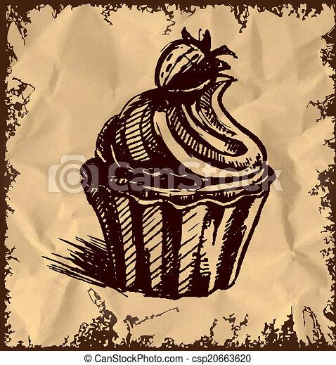 kuchen, weinlese, sahnig, hintergrund, becher - csp20663620