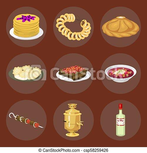 Kuchnia Bieg Smakosz Krajowy Pożądany Ilustracja Mąka Tradycyjny Kultura Wektor Karmowy Półmisek Rosja Ruski