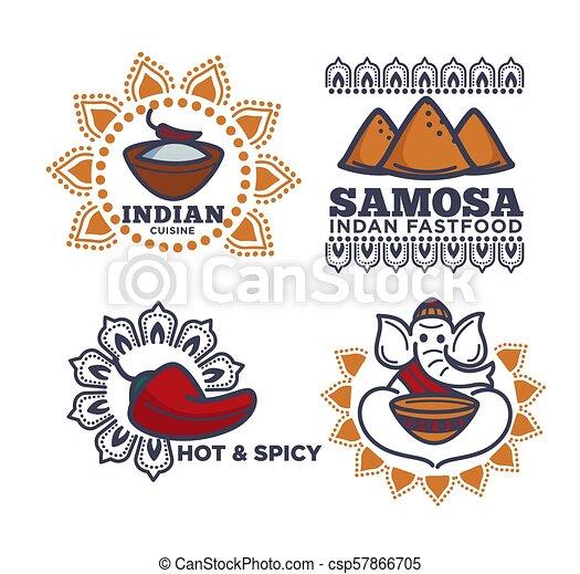 kuchnia, indianin, ikony, jadło, restauracja, mocny, wektor - csp57866705