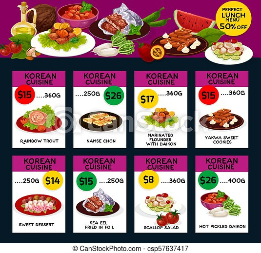 Kuchnia Koreański Projektować Menu