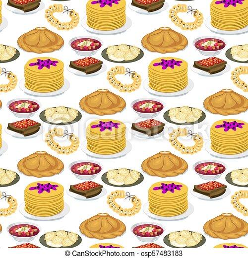 Kuchnia Kultura Jadło Próbka Krajowy Pożądany Seamless Ilustracja Smakosz Tradycyjny Bieg Wektor Tło Półmisek Rosja Ruski Mąka