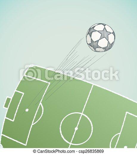 Kugel Aus Fliegendes Hand Stadion Gezeichnet Fussball