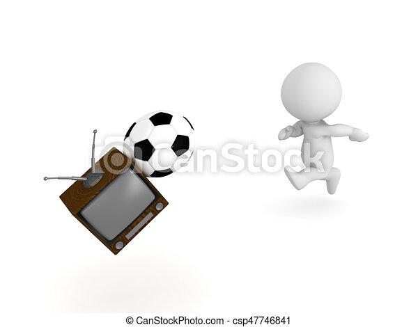 Kugel Fernsehapparat Fussball Zeichen Schlagen Fussball