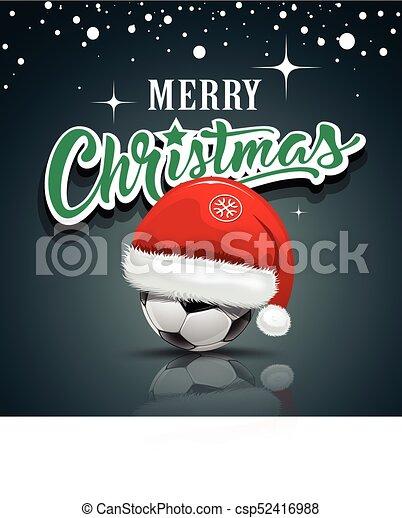 Kugel Frohlich Design Santa Weihnachten Fussball Hut