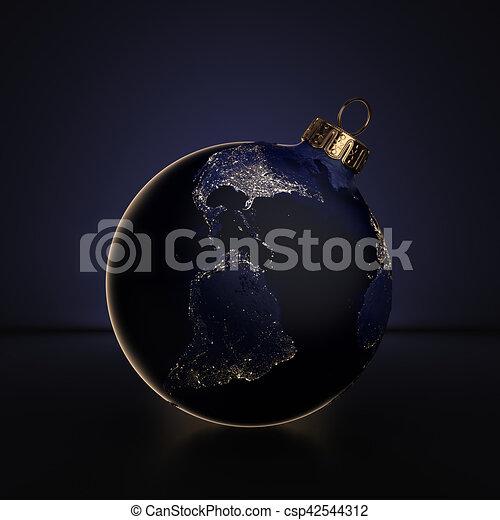 Kugel, planet, übertragung, beleuchtung, nacht, erde, weihnachten ...
