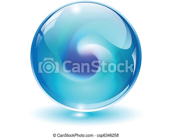 kugelförmig, 3d, kristall, vector., glas - csp6346258