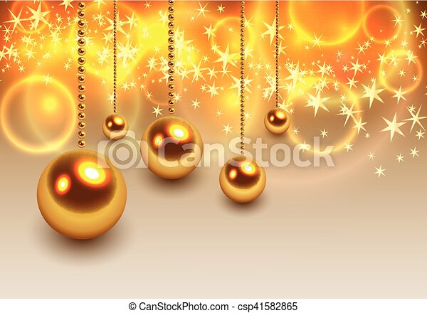 kugeln, hintergrund, weihnachten, gold - csp41582865