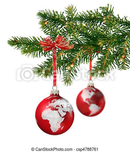 kugeln kontinente baum glas gr n zweig h ngender welt weihnachten. Black Bedroom Furniture Sets. Home Design Ideas